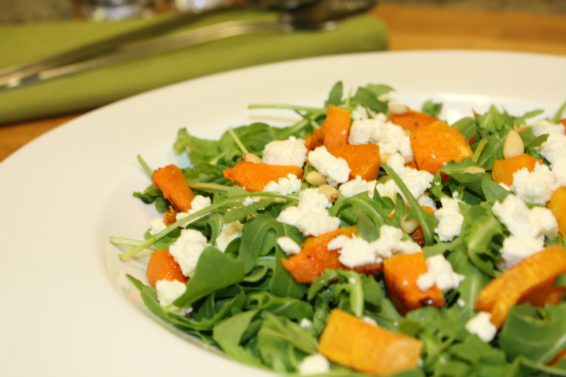 Roasted Pumpkin and Rocket Salad with Feta Cheese and Pine Nuts - Cooking with Zahra
