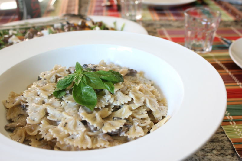 Farfalla Pasta with Mushroom and White Truffle Infused Cream Sauce - Cooking with Zahra